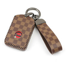 Brown Leather 4 Buttons Key Fob Case Cover For Volvo S60 S90 V90 XC40 XC60 XC90