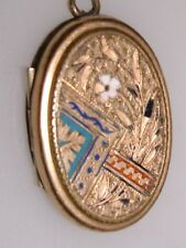 GOLD FILLED ENAMEL VICTORIAN AESTHETIC MOVEMENT W/DAGUERROTYPE LOCKET!