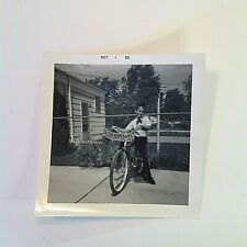 Vintage 1965 B&W Photo Delivery Boy White Shirt and Tie Bicycle Basket Pose Yard