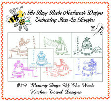 #849 Mammy 7 Days Of The Week Embroidery Kitchen Towel IRON-ON Transfer Motifs