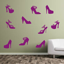 Shoes Ladies Girl Girls Lady Shoe Wall Art Stickers Decals High-heals Heals A380 Large (pack of 10) Dark Grey