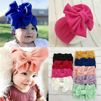 Cute Newborn Baby Turban Headwraps Big Bow Knot Girl Floral Cotton Wide Headband