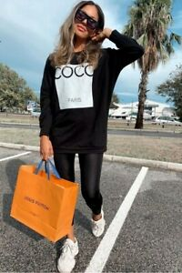 Black Coco Print Oversized Sweatshirt
