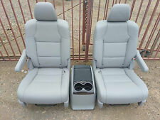 new 2 GRAY LEATHER  BUCKET SEATS & CONSOLE truck van bus classic car hotrod rv