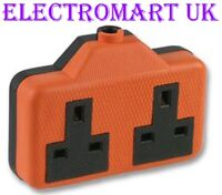 2 GANG WAY DOUBLE TWIN ELECTRICAL TRAILING 13A AMP SOCKET ORANGE