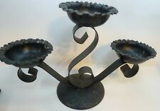 Black Three Candle Holder Metal Table Centerpiece Fluted Bowls