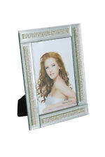 "Standing Rectangular Mirror Picture Frame w/ Segmented Crystal Strands, 4"" x 6"