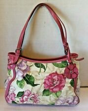 Fossil Pink Floral Purse Leather Trim Bag Charm Handbag