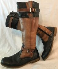 Ladies Brown&Navy Knee High Leather Lovely Boots Size 39 (167v)