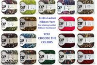 1 Skein Ice Ladder Ribbon Trellis Yarn for Crochet Necklaces U CHOOSE COLORS