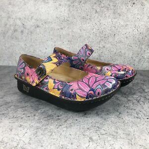 Alegria Paloma Women's Multicolor Leather Peacock Mary Jane Shoes Sz 38 US 8-8.5