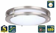 CORAMDEO 15 Inch LED Satin Nickel Ceiling Flush Mount Light Gives 200W of Light