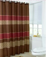 Shower Curtain Brown Multi Color Roller Hooks Set Printed Medici Fabric Quality