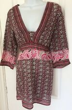Ladies White Stuff Half Sleeve Tunic Top Cover Up Size 14 Pink Brown Floral