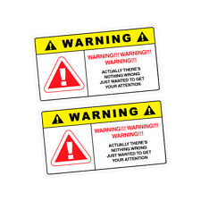 2X WARNING ATTENTION Sticker Decal Car Drift Turbo Euro Fast Vinyl #1161A
