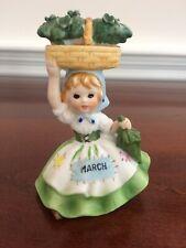 Vtg Lefton March Birthday Girl w/Clover Basket Figurine 1970's St Patrick's Day