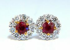 1.92ct Natural Ruby Diamonds Cluster Earrings 14 Karat gold Halo