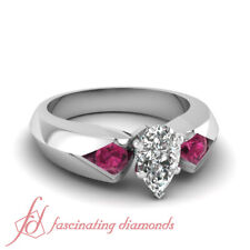 1.20 Ct Pear Shaped FLAWLESS Diamond & Pink Sapphire Three Stone Engagement Ring
