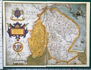 Old Tudor Saxton 1500's Map Lincolnshire Nottinghamshire England Antique Reprint