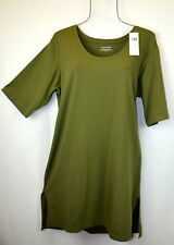 Eileen Fisher Womens M Organic Cotton Blend High Low Top Blouse Tunic Shirt NEW