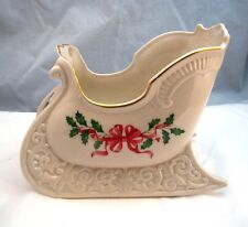 "Lenox HOLIDAY GOLD RED RIBBON Sleigh Centerpiece 7"" x 8 3/4"" EXCELLENT"