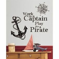 WORK LIKE A CAPTAIN wall sticker MURAL Quote 10 decal PLAY PIRATE compass ANCHOR