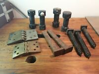 Vintage screws, old railway nails, fencing items, walkers connect, Brass hinges