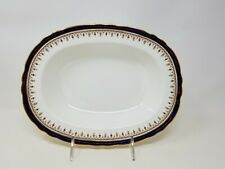 "Aynsley LEIGHTON COBALT Blue Gold Trim Design Oval 10 1/4"" Vegetable Bowl"