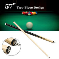 57'' 2-Piece 1/2 Snooker Pool Jointed Cue Eco Stick For Billiards Game Sport