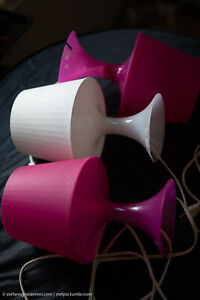 3x Ikea Lamp LAMPAN Hot Pink/Fuchsia (2) and White (1) w bulbs  Art deco.