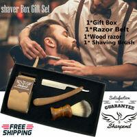 Beard Shaving Set - Beard Shaving Brush ,Razor & Belt - Gift Set for Men