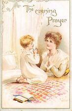 Evening Prayer~Mother & Lil Girl in Nightdress~Bedspread Quilt~Gold Leaf Emboss