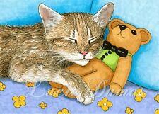 ACEO art print Cat 380 teddy bear from original painting L.Dumas