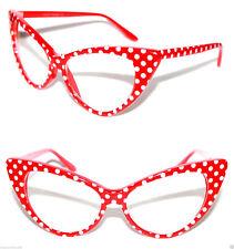 Cat Eye Nerd Brille Pinup 50er Jahre z. Petticoat Kleid Polka Dots rot 321B