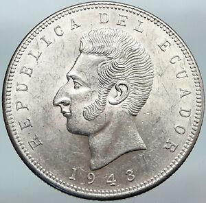 1943 ECUADOR Antonio Jose de Sucre y Alcala Antique Silver 5 Sucres Coin i88157