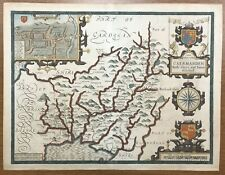 ORIGINAL 1662 Antique John Speed Atlas Map Of Carmarthen/Carmarthenshire