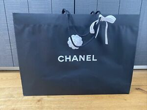 Chanel Black Empty Very Large Gift Carry Bag With Camellia Flower And Ribbon