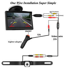 Cigarette Lighter Adapter Rear View Backup Camera 12 Led & 5 inch LCD Monitor