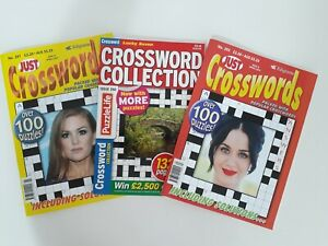 Collection of 3 x Crossword Puzzle Books Just Crosswords Nos 291, 293, 250 - NEW