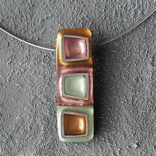 Neu 40cm+5cm EDELSTAHL COLLIER CAPIZ MUSCHEL pastell/rosa/grün/braun HALSKETTE