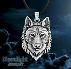 New Silver Wolf Head Nordic Pendant Viking Necklace photo