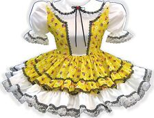 """Annie"" CUSTOM FIT Pretty SATIN Yellow Adult Little Girl Baby Sissy Dress LEANNE"