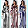 Sexy Women Irregular Stripes Print One Shoulder Wide Legs Belted Casual Jumpsuit