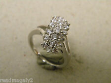 Lady's Women's Yellow Gold Rhodium Plated Cocktail Ring 19 Clear CZ's Size 7 New