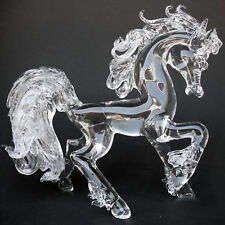 Horse Prancing Large Crystal Hand Blown Glass Figurine