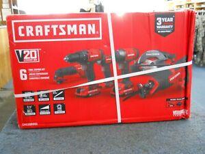 New Craftsman CMCK600D2 Cordless Battery 20V 6 Tool Combo Kit