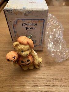 VINTAGE BOXED retired cherished teddies TEDDY BEAR breanna pumpkin 617180