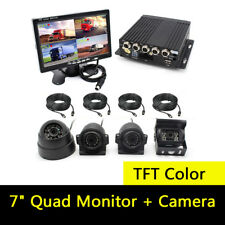 "7"" Quad Monitor Parking Reversing Security SYSTEM 4xCCD Camera For Truck Caravan"