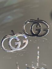 Genuine Gucci 18 Carat GG White Gold 'Tissue' Earrings Fully Hallmarked