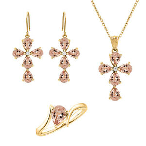 Morganite Jewelry Set, Light Pink Necklace, Earrings and Ring, Women Wedding Set